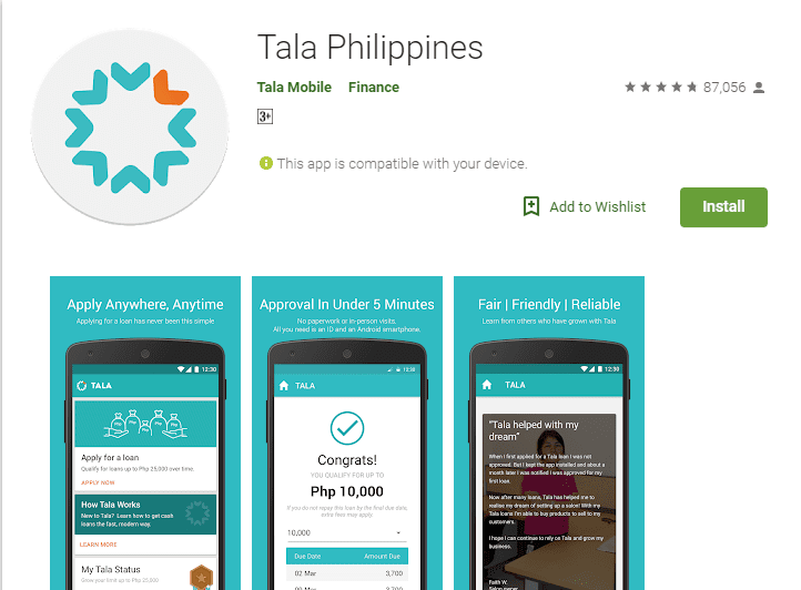 Tala Philippines on the Google Playstore